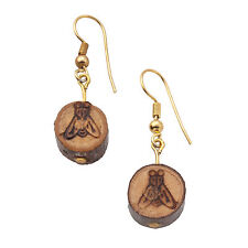 Vintage Natural Wood Burnt Cut Branch Fly Insect Design Pierced Earrings