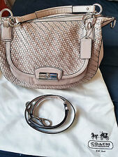 COACH Kristin Woven Leather Round Satchel Shoulder Bag PINK TUBEROSE