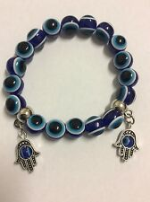 Hamsa hand evil eye luck charms dark blue evil eye striped bead stretch bracelet