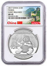 2017 China 10Y 30g Silver Panda NGC MS69 ER Exclusive Great Wall Label SKU43851