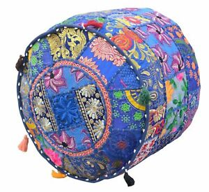 """14X22"""" Indian Cotton Patchwork Round Ottoman Pouf Throw Vintage Footstool Cover"""