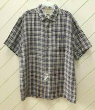 NWOT-New_100% Linen_JOSEPH ABBOUD Short Sleeve Shirt_Sz.3XLT_Blues & Grays Check
