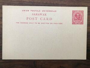 MALAYSIA MALAYA SARAWAK OLD POSTCARD POSTAGE REVENUE 3 CENTS UNUSED !!