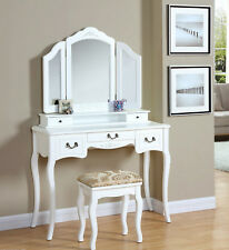 Dressing Table Console Mirror Stool Drawers Dresser Organiser Wooden Wood Ivory