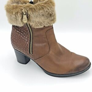 Remonte Tan Leather & Croc Panelled Faux Fur Trimmed Heeled Booties Sz 36