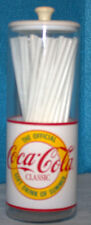 """Coca-Cola, Coke Straw Holder with Straws Says """"Coca-Cola Classic"""""""