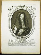 Charles II Stuart King UK roi d'Angleterre sc N DE LARMESSIN c1680 Gravure XVII