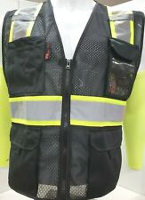 Fx Two Tone High Visibility Reflective Black Safety Vest With Id Pocketsmall 2xl
