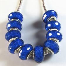10Pcs/Set Silver Core Crystal Faceted Resin Beads Fit European Charm Bracelet