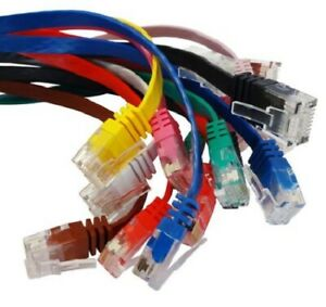0.5m-20m Cat5E FLAT RJ45 Home Office Network Cable Ethernet Lead 100% COPPER