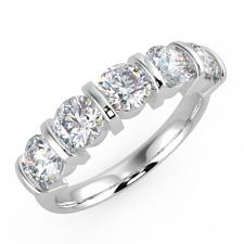 1ct Bar Set Round Diamond Half Eternity in Platinum