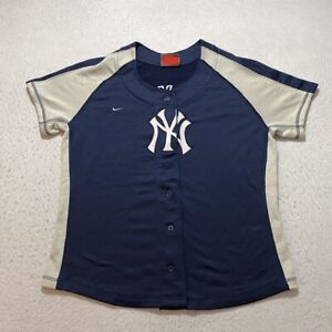 Nike Team MLB New York Yankees Jersey Youth Size L Blue Embroidered Baseball