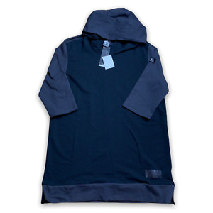 Adidas Mens Basketball League Hoodie 3/4 SL Pullover Fitness Top Black Sz XL New