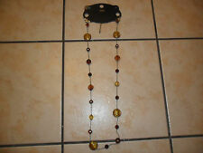 """NEW M&S HYPO-ALLERGENIC BROWN MIX NECKLACE 41"""" LONG - FAULT STATED"""
