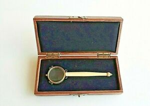 Antique bronze  MAGNIFYING GLASS with original wood Box. Unique.