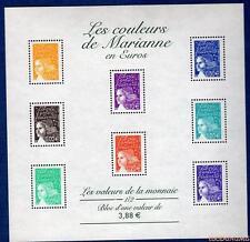 France Bloc N°44 Les Couleurs de Marianne en Euros 2002 Neuf Luxe