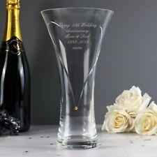 Personalised Large Hand Cut Gold Diamante Heart Vase with Swarovski Elements #1