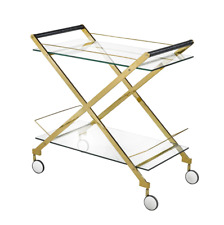 Bermuda Gold Bar Cart Gold Stainless Steel & Glass Casters GY-CRT-7919G NEW