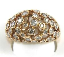 Round Diamond Bubbles Cluster Dome Ring Band 18k Rose Gold 2.24Ct