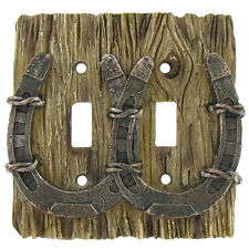 Lodge Rustic Log Cabin Home Decor Horseshoe Double 2 light Switch Plate Cover