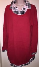 "OH BABY by Motherhood Maternity Mock Layer Scoopneck Sweater ""SCARLET"" Plaid XL"