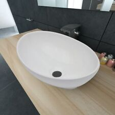vidaXL Lavabo Cerámico Lujoso en Forma Ovalado Colores Blanco/Negro 40 x 33 cm