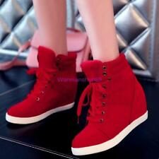 Chic Womens Ladies Lace Up High Top Sneaker Hidden Wedge Heel Ankle Boots Shoes