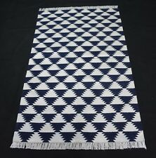 Hand Woven Cotton Area Rug Blue Coloured Home And Office Decor Rug 3x5 Feet