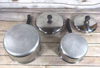 Vintage Farberware 1 & 2 1/2 QT Sauce Pan Stainless Steel Aluminum Clad w/ Lid