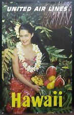 c.1950s United Air Lines Hawaii Hawaiian Maiden Vintage Poster Airlines Original