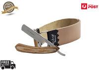 VINTAGE BARBER SALON STRAIGHT CUT THROAT SHAVING RAZOR With Leather strop Belt