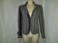 Marithe Francois Girbaud multi coloured herringbone blazer with fringes size 34D