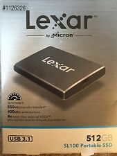 Lexar 512 GB Portable Solid State Drive (SSD) USB 3.1 Faster Speed Model # SL100