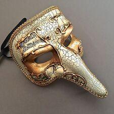Halloween Capitano Carnivale Antique White Gold  Zanni Nose Masquerade Mask