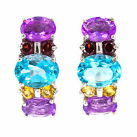 NATURAL 9X7 MM SKY BLUE TOPAZ AMETHYST GARNET CITRINE CUT GEM SILVER 925 EARRING