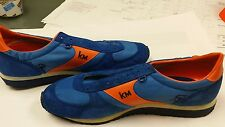 Vintage 1980s Etonic KM orange Blue Leather Running Track Shoes