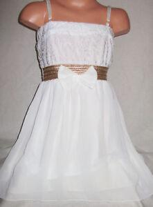 GIRLS CREAMY WHITE LACE BOW GOLD TRIM CHIFFON CONTRAST PARTY DRESS age 4-5