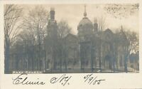 ELMIRA NY – Park Church Real Photo Postcard rppc - udb (pre 1908)