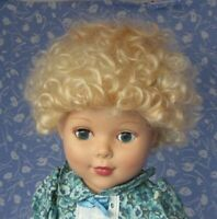 KAIS  KATI Full Cap Golden Blond Doll Wig Size 12-13  - 100% MOHAIR , Curly