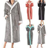 Women's Winter Hooded Lengthened Long Sleeved Plush Shawl Bathrobe Sleepwear L