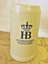 Vintage Original German Beer Mug Stein HB HOFBRAUHAUS MUNCHEN 1L GERZ Stoneware