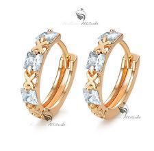 18k yellow gold gf made with SWAROVSKI crystal huggies earrings cute