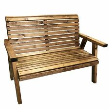 Heavy Duty Wider Garden Furniture 2 Seater High Back Wooden Bench Flat Pack