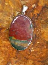 New Large Natural Blood Stone Jasper Sterling Silver Pendant