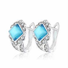 White Gold Plated & Light Ocean Blue Crystal Stone Hoops Women Earrings E1001