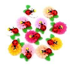 10 x Ladybird Flower Cabochon Flatback Scrapbooking Card Crafts Jewellery Cute