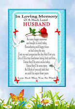 LARGE HUSBAND  MEMORIAL BEREAVEMENT GRAVESIDE  CARD & FREE HOLDER
