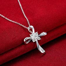 Elegant 925 Hallmark Sterling Silver Filled Cross CZ Pendant Necklace N519 Gift