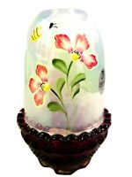 Fenton Glass Ruby / Iridized French Opal. Handpainted Fairy Lamp, new in box