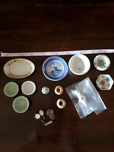 Dollhouse Miniature Lot of 16 Kitchen Items most signed by artist!